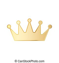 Golden crown icon. Vector illustration. - Golden crown icon...