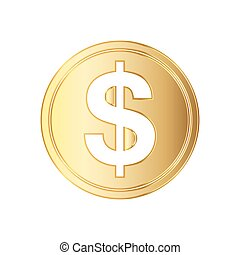 Golden dolar coin icon. Vector illustration. Golden dollar...