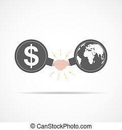 Symbol of handshake between dollar signs and globe map. Vector illustration.