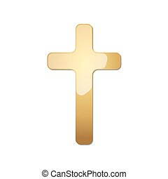 Golden Christian cross. Vector illustration.