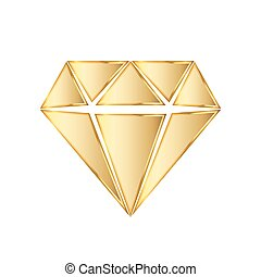 Golden diamod icon. Vector illustration. Golden diamond...