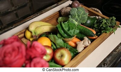 Top view of fresh fruits and vegetable in tray - Top view of...