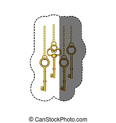 sticker pattern with vintage golden keys hanging on chains...