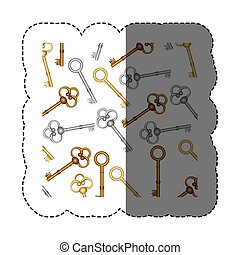 sticker pattern with vintage keys of gold and silver