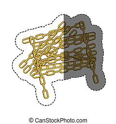 color sticker with silhouette of golden chain vector...