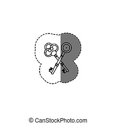 monochrome contour sticker with silhouette of crossed...