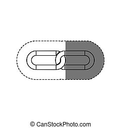 monochrome contour sticker with silhouette two links vector...