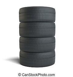Stack of four black tires