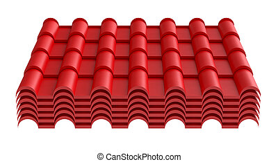 Roof tile, isolated on white background. 3d illustration