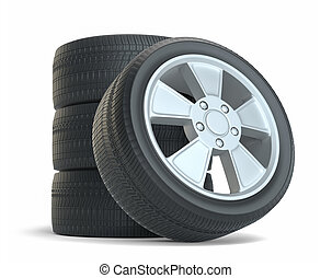 Rubber tires. Isolated on white