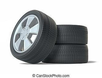 Car black new wheels, isolated