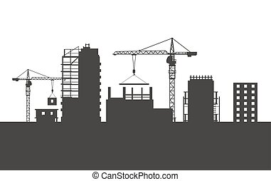 Four Unfinished Buildings. Two Cranes. Colourless - Four...
