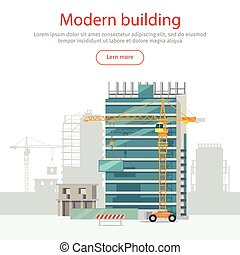 Building Web Banner. Skyscraper. Floors with Glass - Modern...