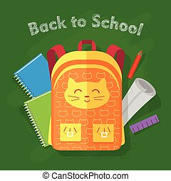 Back to School. Orange Bag on Green Background - Back to...