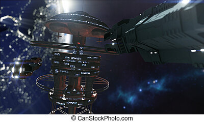 3d rendering. Powerful space station and a scifi spaceship