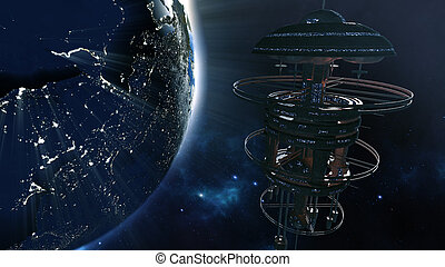3d rendering. Powerful spacestation with city lighted earth globe