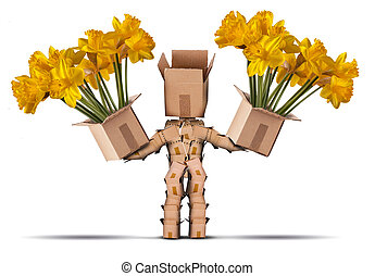 Boxman character holding two boxes of flower