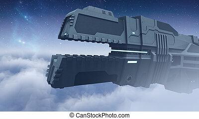 Futuristic cargo spaceship flying 3D rendering