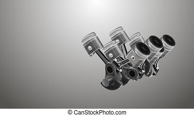 Animated pistons coated with 3D mesh on a gray background -...