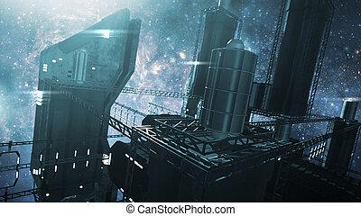 3D rendering Impressive space station