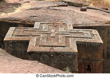 The rock carvings Churches of Lalibela in Ethiopia