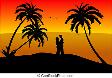 young couple on the beach - Loving young couple during...