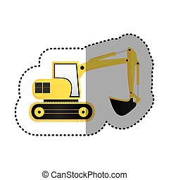 sticker yellow backhoe with crane for construction