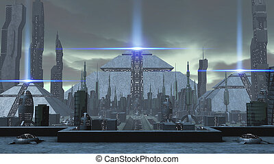 3D rendering of a futuristic ancient city - 3D rendering of...