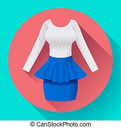 Fashionable womens clothing dress with Baska blue skirt and lacy blouse