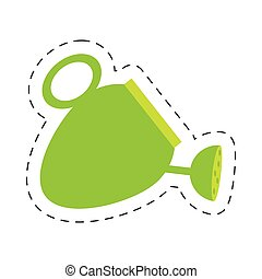 green water can tool gardening cut line vector illustration...