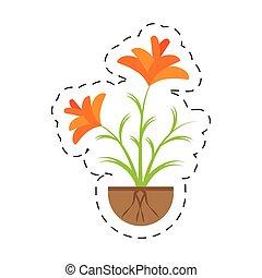 freesia flower growing garden vector illustration eps 10