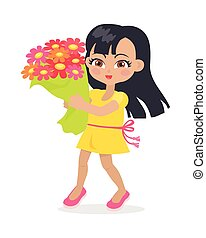 Smiling Girl with Colourful Bouquet of Flowers.