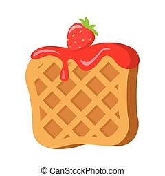 Sweets. Belgian Waffle with Red Strawberry Cream - Belgian...