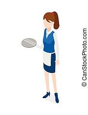 Restaurant. Waitress Holding Round Metal Grey Tray - Waiter...