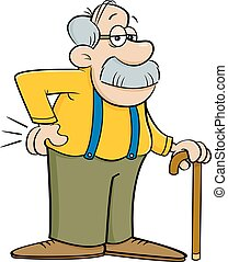Cartoon old man leaning on a cane.