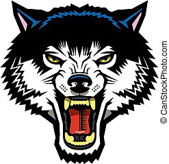 wolf mascot head for school, college or league