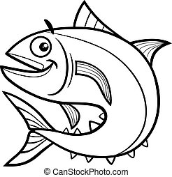 tuna fish coloring page - Black and White Cartoon...