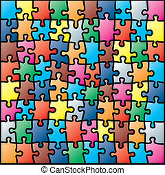 Jigsaw puzzle colorful pattern vector illustration