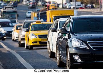 City street heavy traffic - Traffic jam on the city street