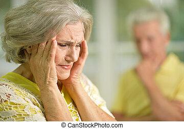 stressed senior woman - Portrait of a stressed senior woman...