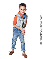 fashionable cute boy, posing against white background