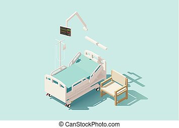 Vector isometric low poly hospital bed