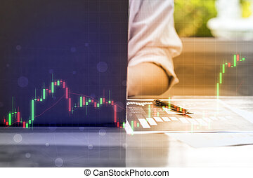 business trading concept : man trade stock and forex in notebook