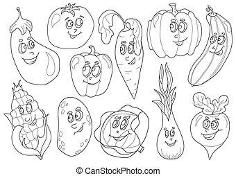 Coloring book with vegetables