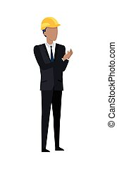 Man in Black Suit and Yellow Helmet Clapping Hands -...