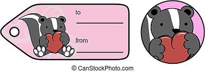 lovely baby skunk cartoon heart sticker copyspace in vector...