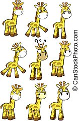 funny little giraffe cartoon expression set
