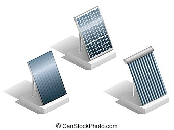 Set of solar panels - Set of different modern solar panels...