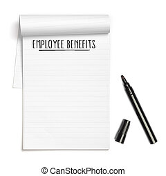 Employee Benefits on note book with black pen
