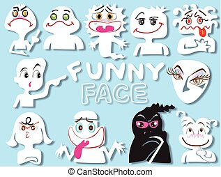 cartoon face funny set design